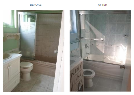 tile installation project in toronto- before & after